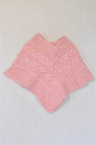 Aran Crafts Pink Knit Poncho Jersey Girls 2-3 years