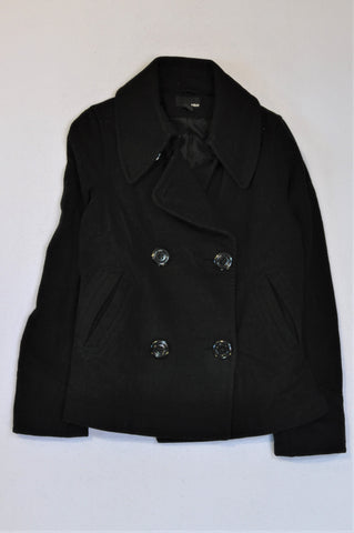 H&M Black Double Breasted Wool Blend Jacket Women Size 8
