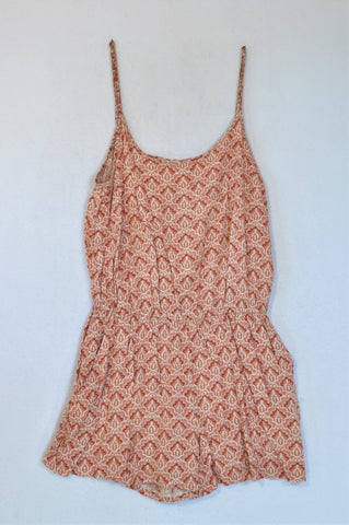 H&M Rust Patterned Jumpsuit With Pockets Women Size 10