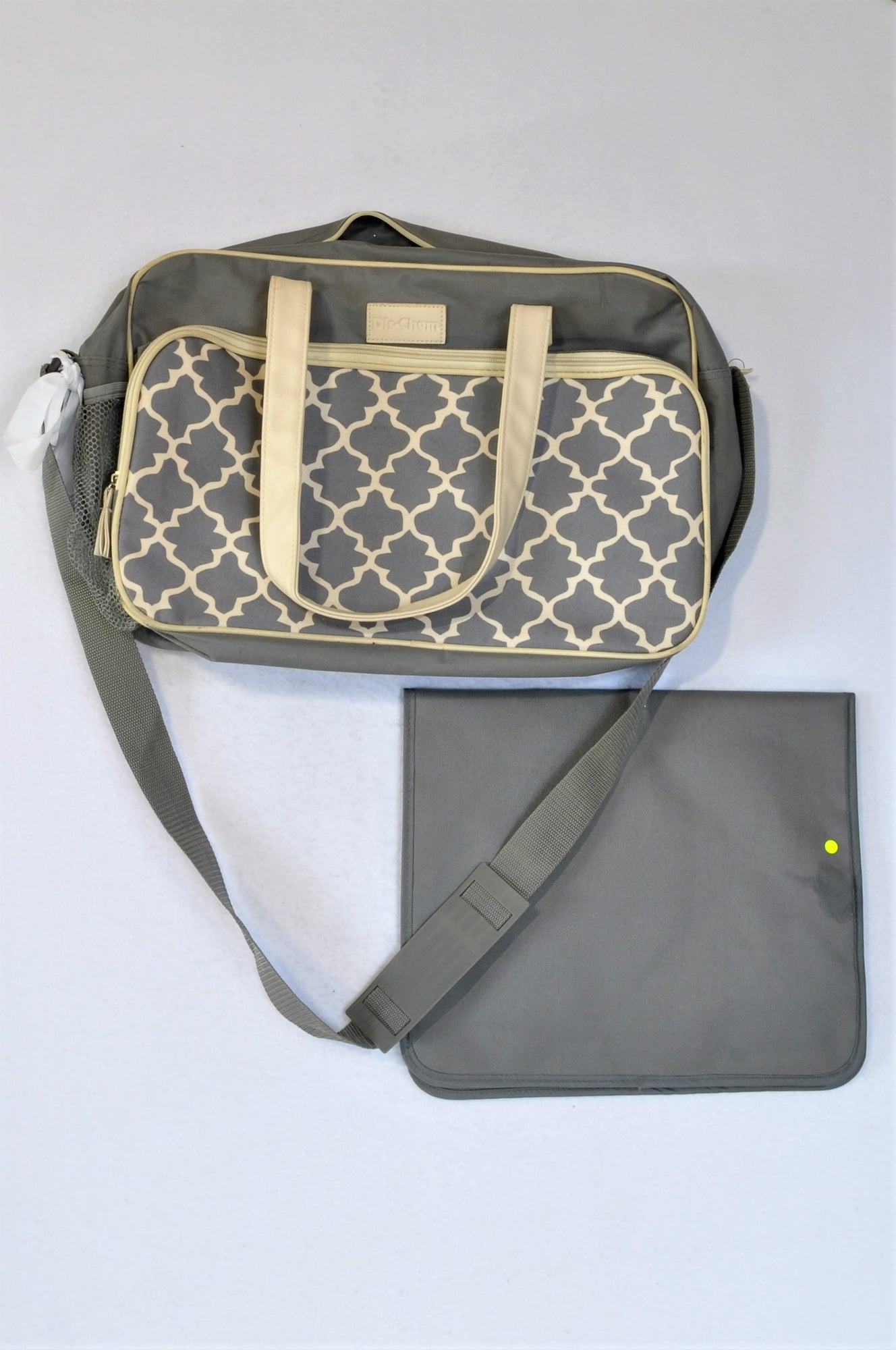 Dis-Chem Grey And Cream Pattern With 60x35cm Grey Changing Mat Nappy Bag Unisex N-B to 2 years