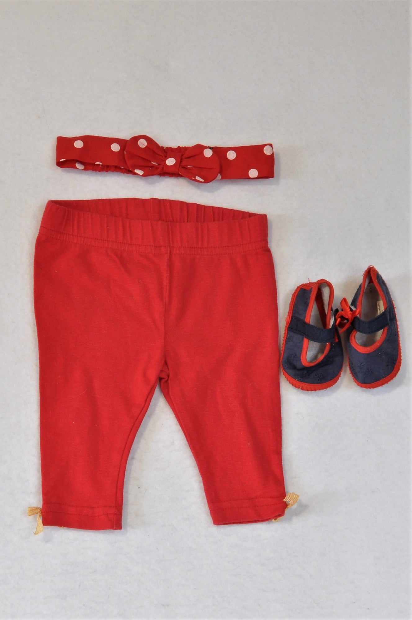 Unbranded Red Leggings, Red Polka Dot Headband And Size 1 Blue Shoes Outfit Girls 0-3 months