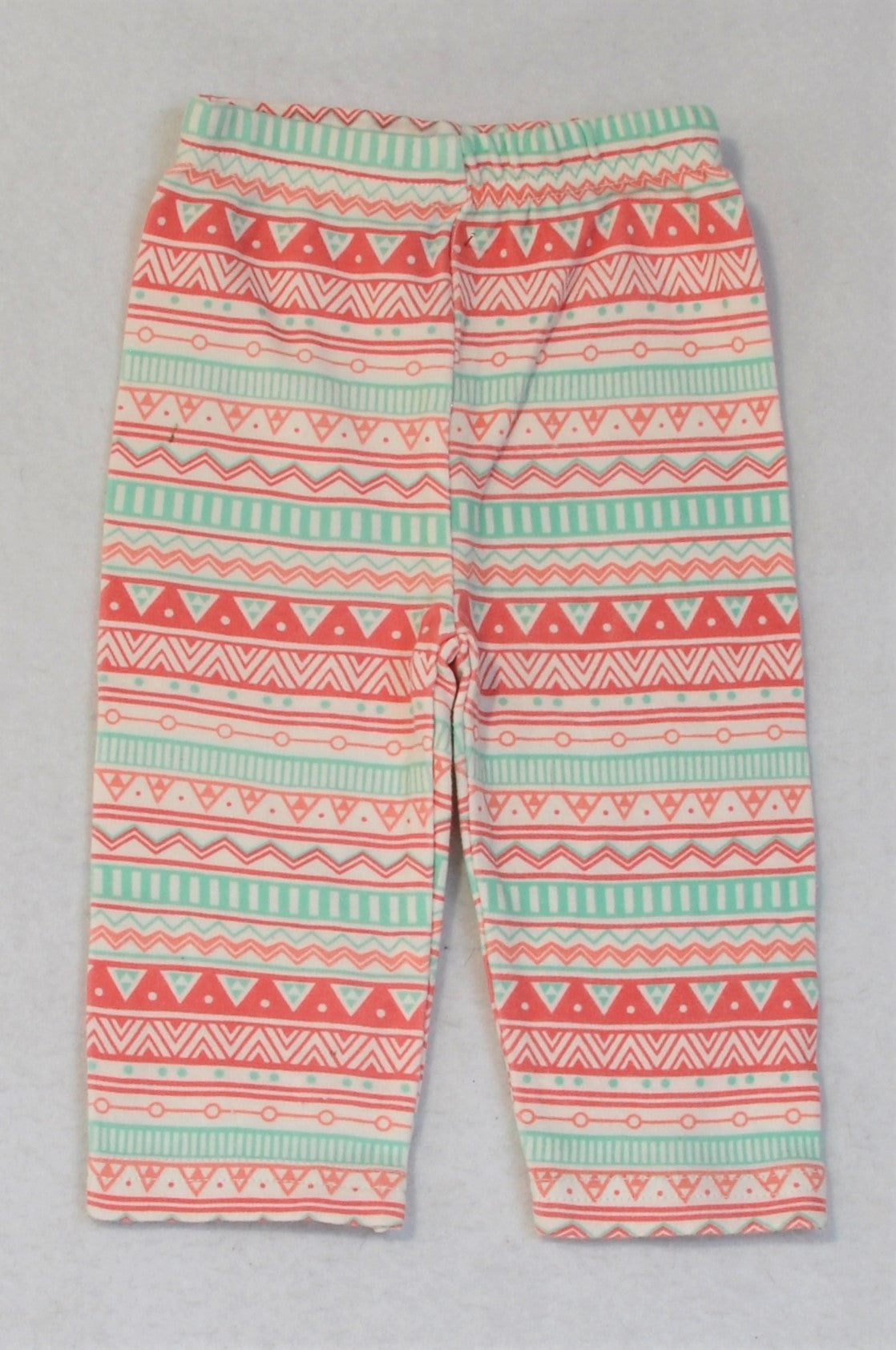 Jolly Tots Pink And Mint Pattern Leggings Girls 3-6 months