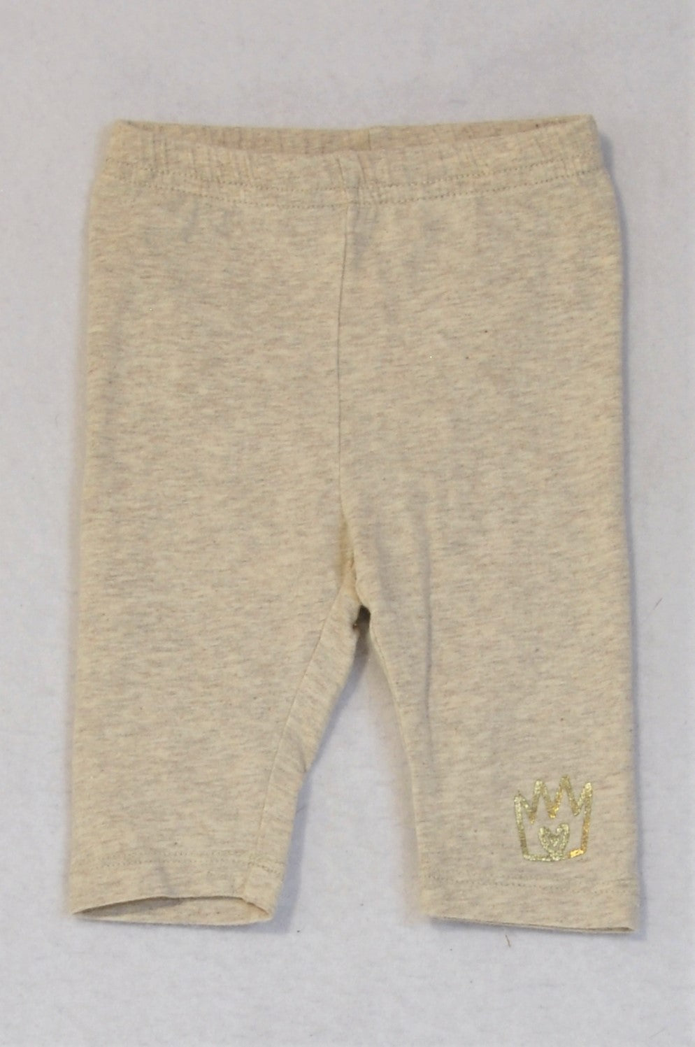 Woolworths Heathered Grey Gold Crown Leggings Girls 0-3 months