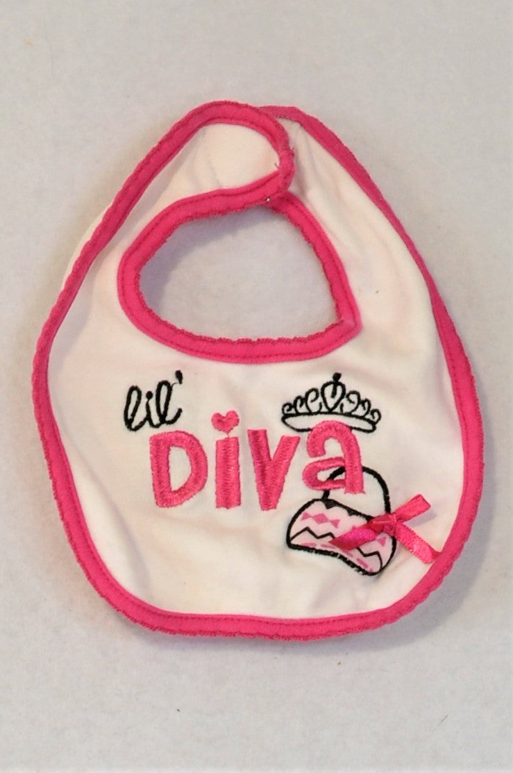 Mother's Choice White And Pink Diva Bib Girls 0-6 months