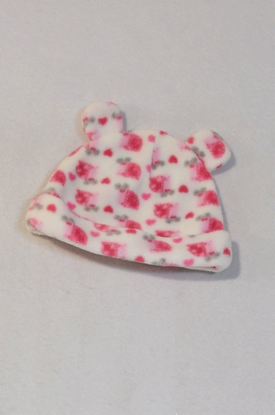 Pep White & Pink Floral Ear Beanie Girls 0-3 months