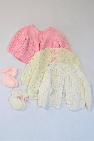Unbranded Set Of 3 Crochet Pink, White And Off White Tops Girls 6-12 months