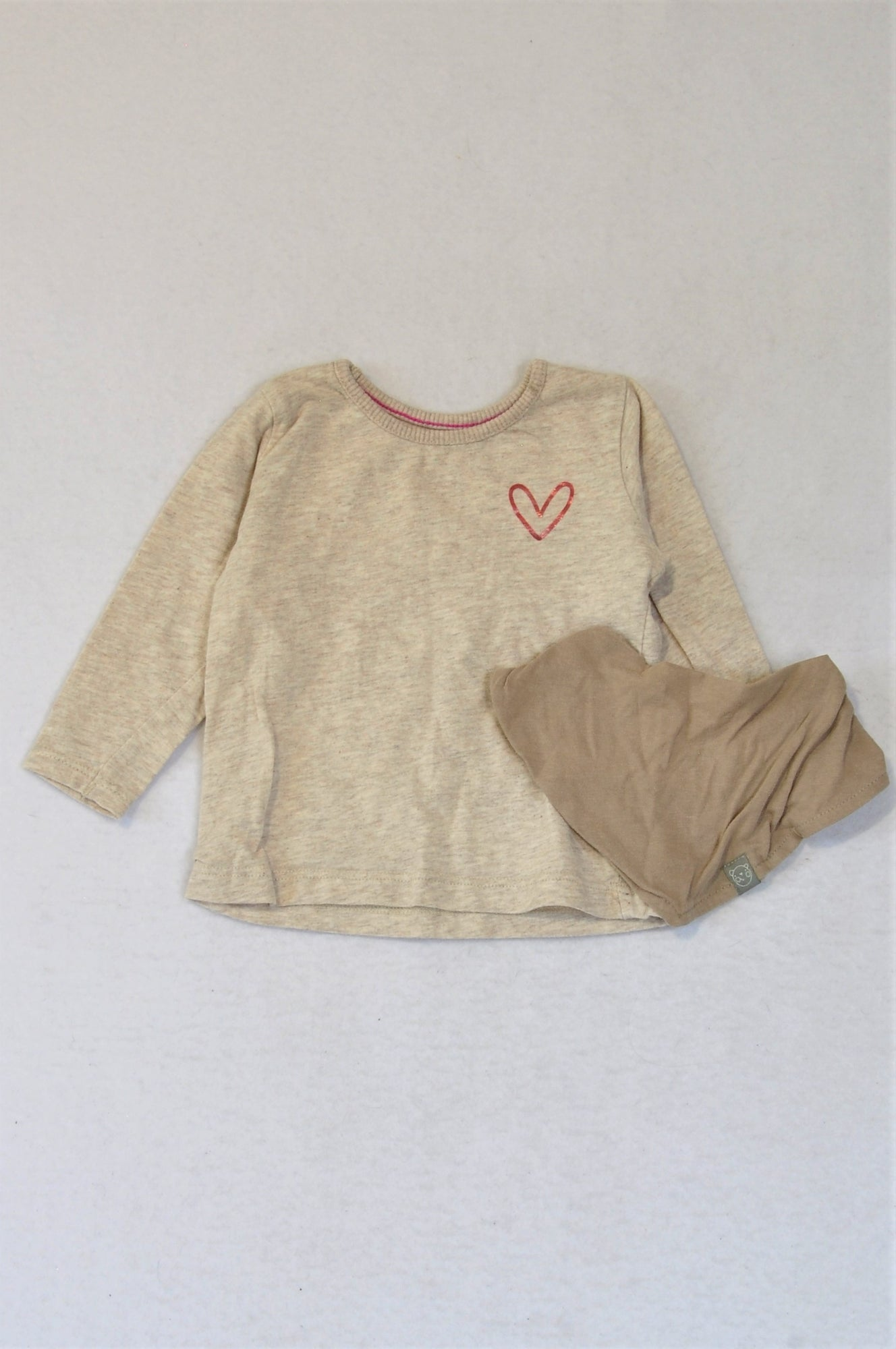 Woolworths Heathered Cream Long Sleeve Top With Brown Bib Outfit Girls 3-6 months