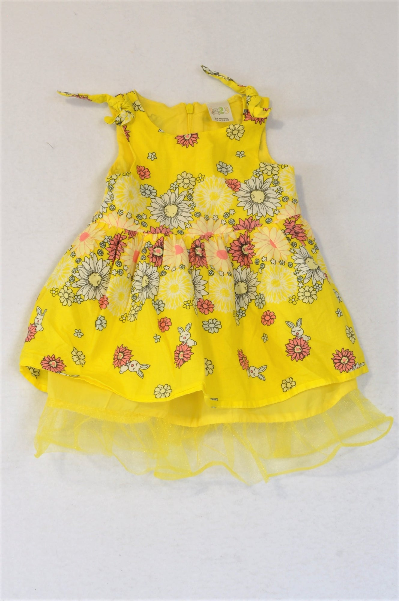 Edgars Bright Yellow Floral Dress Girls 3-6 months