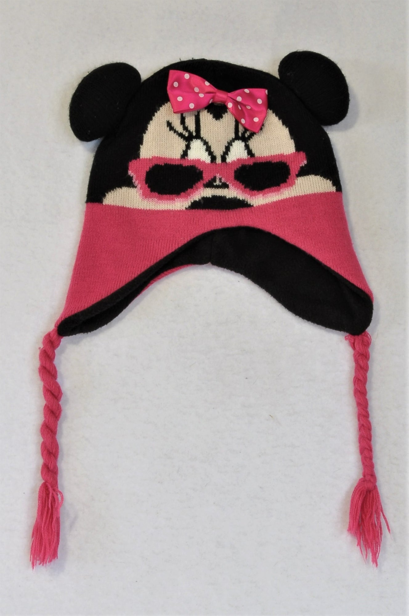 Disney Pink And Black Minnie Mouse Beanie Girls 5-6 years