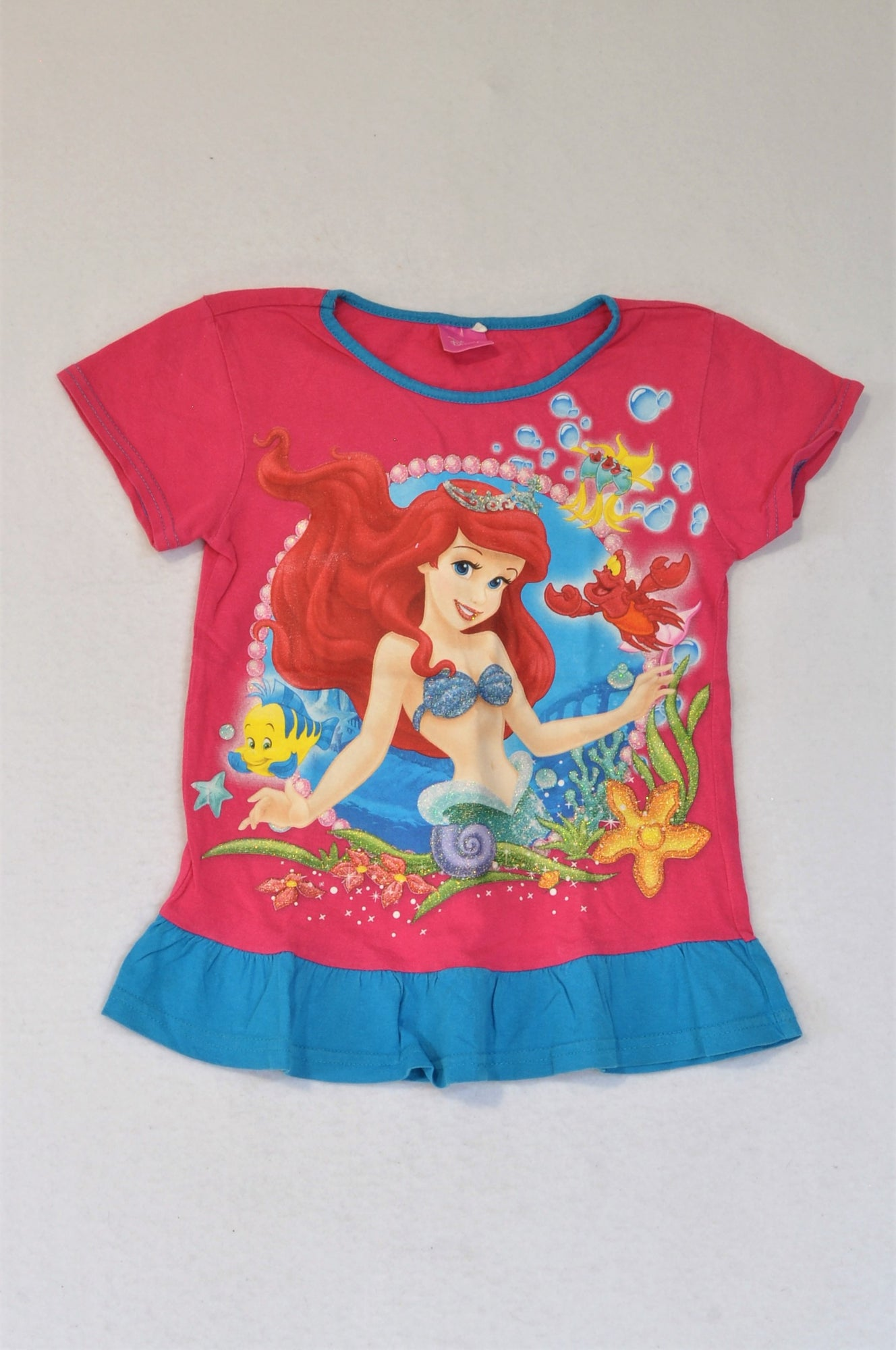 Disney Pink Little Mermaid T-shirt Girls 5-6 years