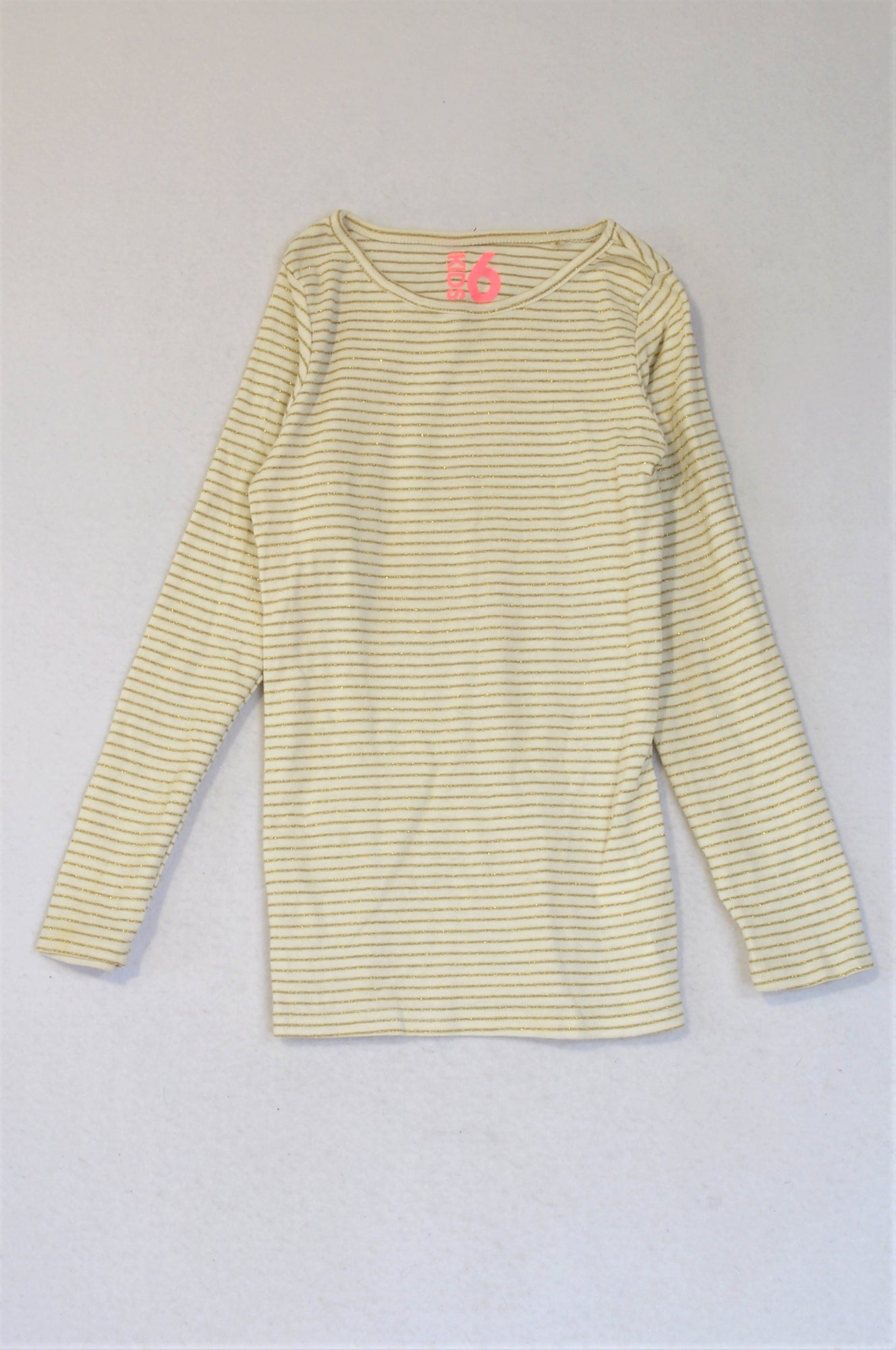 Cotton On White With Gold Stripe Long Sleeve T-shirt Girls 5-6 years