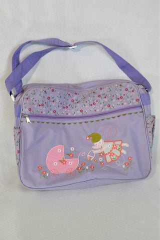 Unbranded Purple Floral Embroidered Fairy Nappy Bag Girls N-B to 2 years