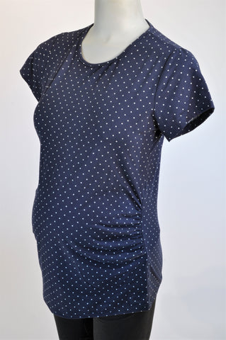 Oakridge Navy Dotty Maternity Top Size 34