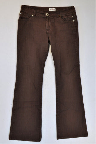 Network Brown Ribbed Bootleg Jeans Women Size 14