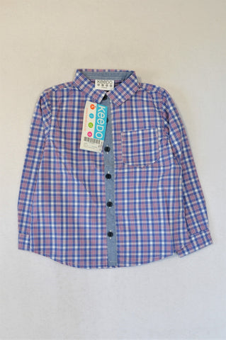 New Keedo Blue Check Chambray Detail Long Sleeve Shirt Boys 2-4 years