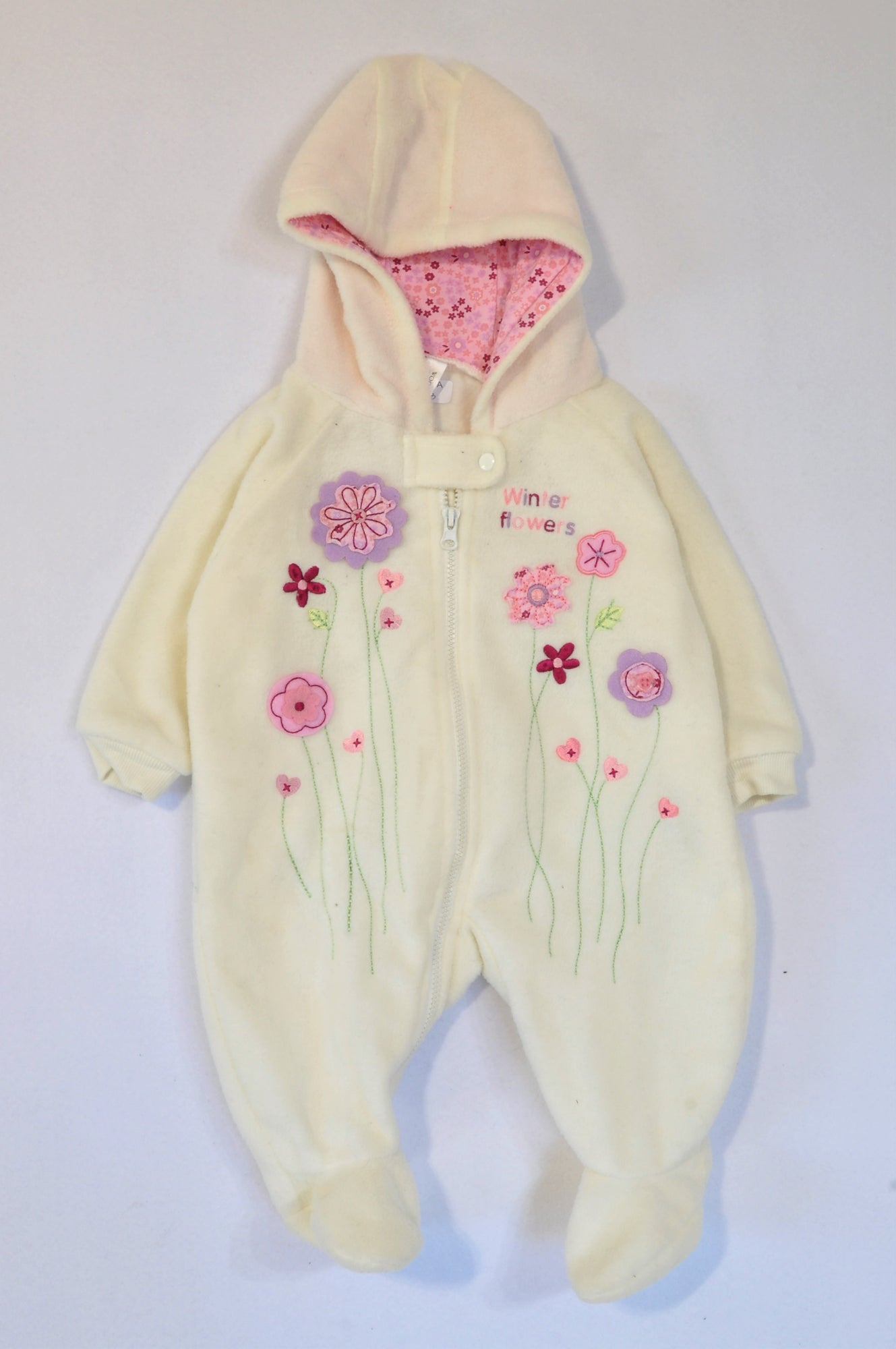 Woolworths White Fleece Embroidered Flower Zipper Onesie Girls N-B