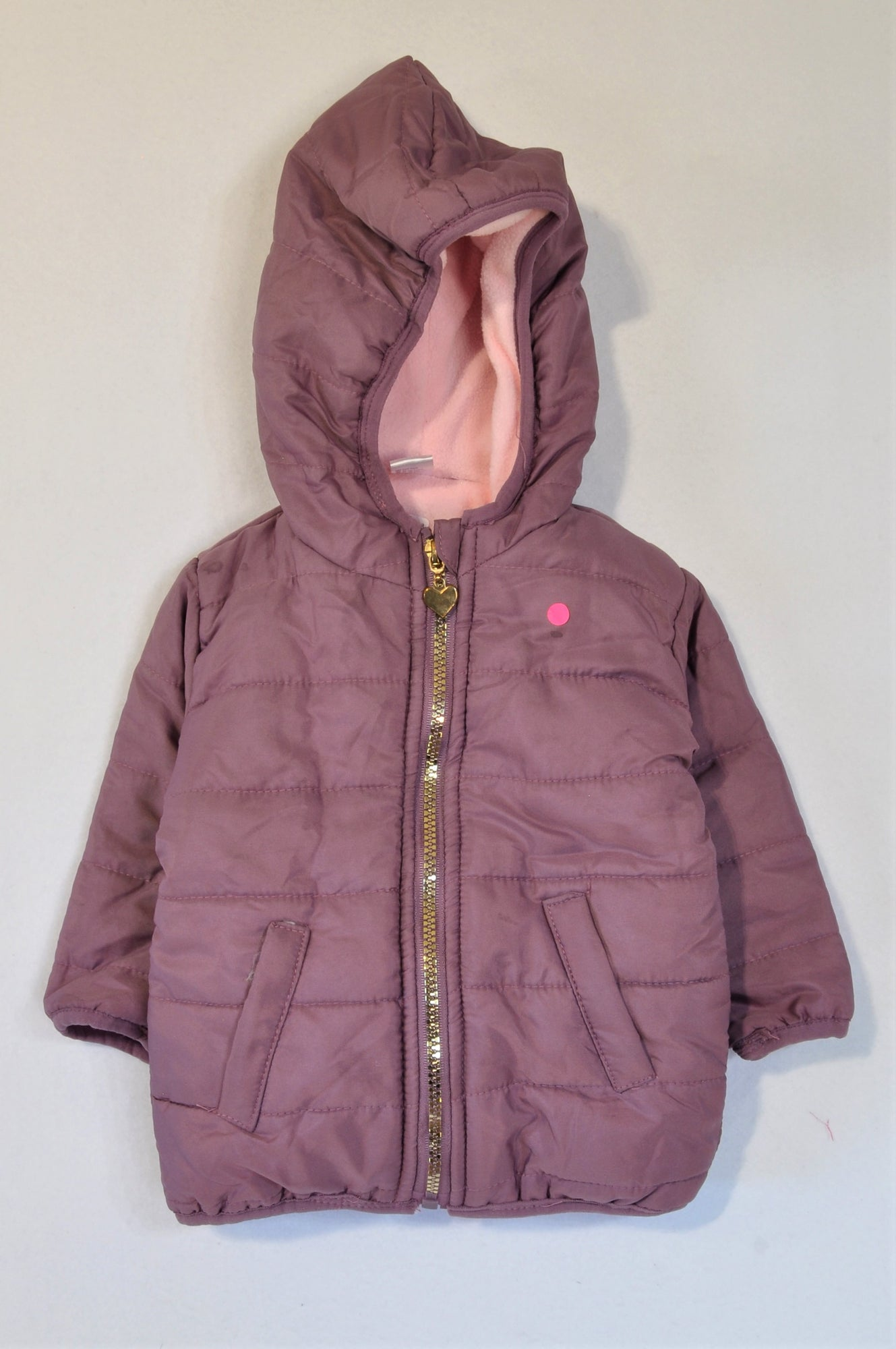 Ackermans Purple Pink Fleece Lined Puffer Jacket Girls 6-12 months