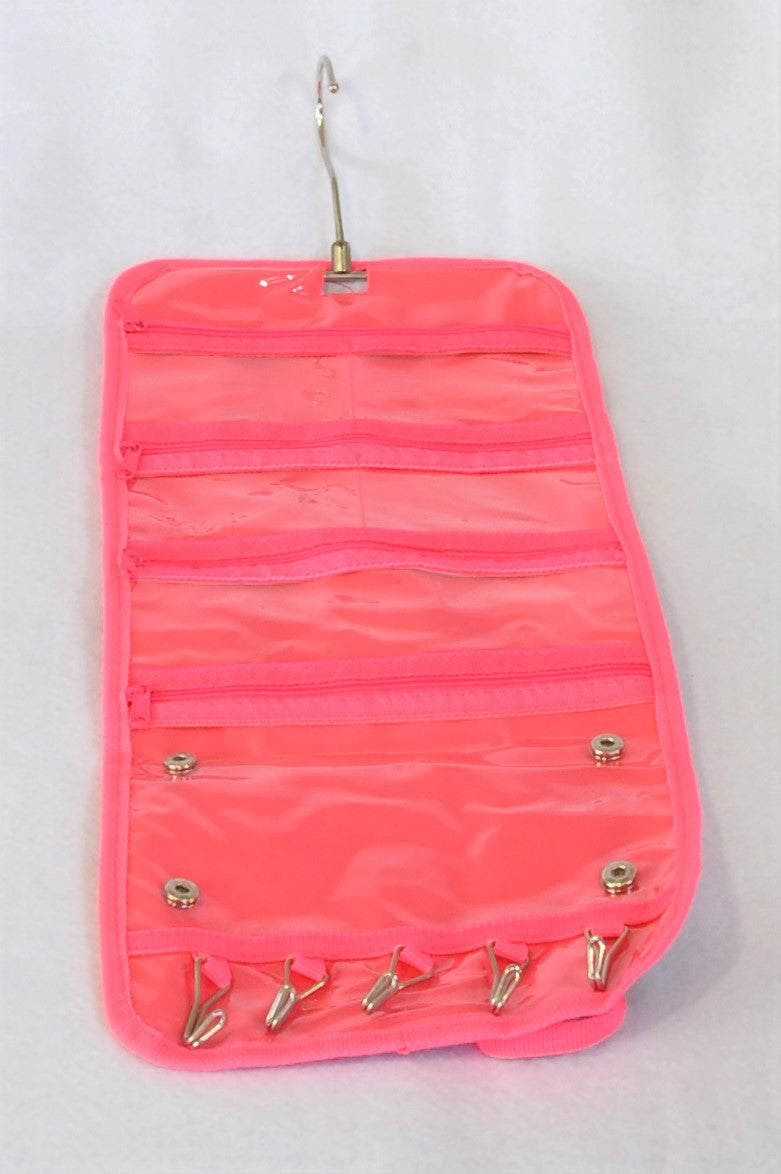 Unbranded Blue Floral And Bright Pink Travel Jewellery Storage Bag Girls 8+ years
