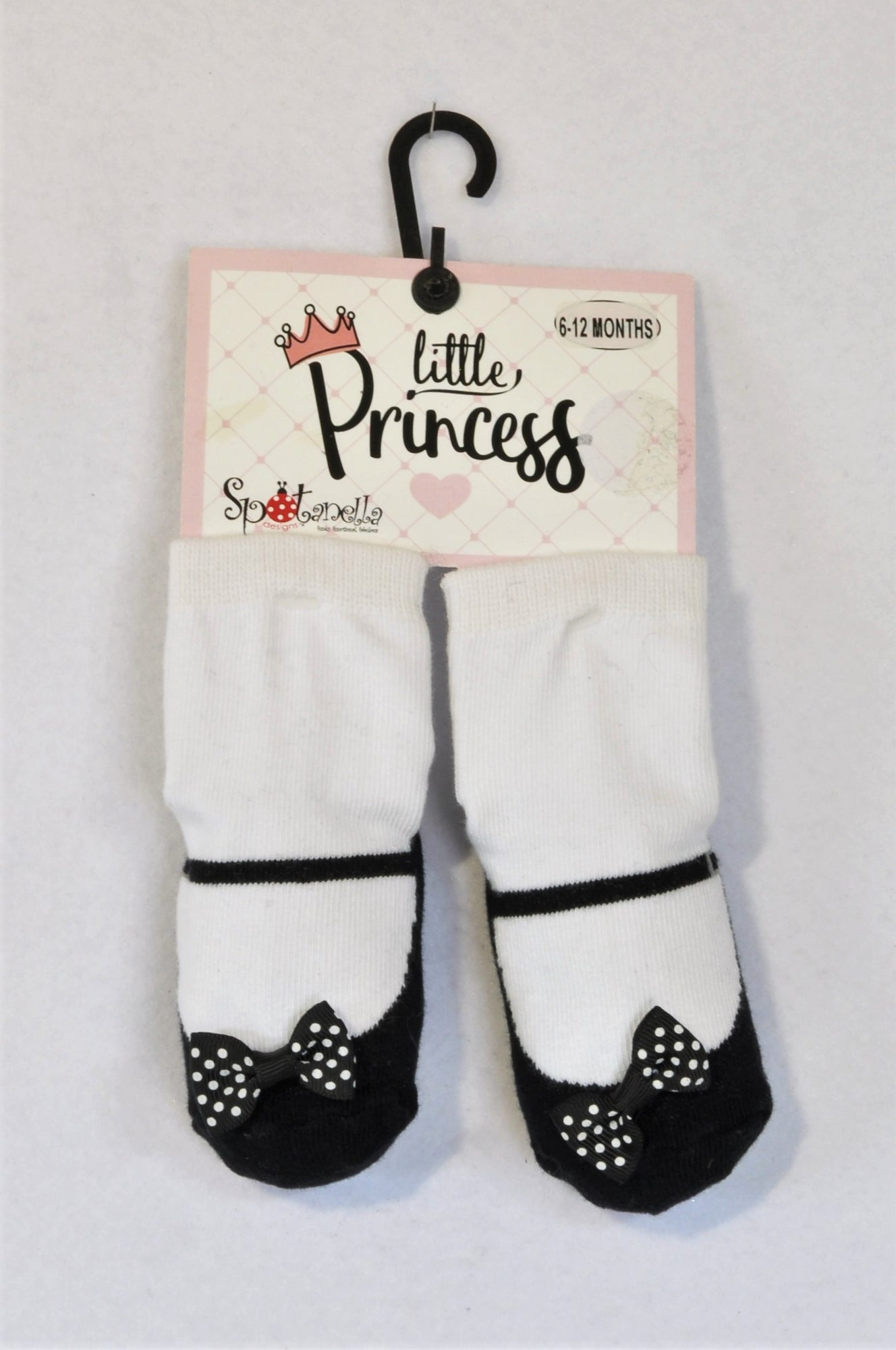 New Spotanella Designs Little Princess Black Dotty Bow Non-Slip Socks Girls 6-12 months