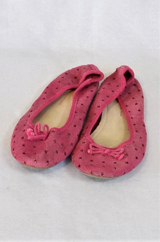 GAP Size 3 Pink Star Suede Pumps Shoes Girls 8+ years