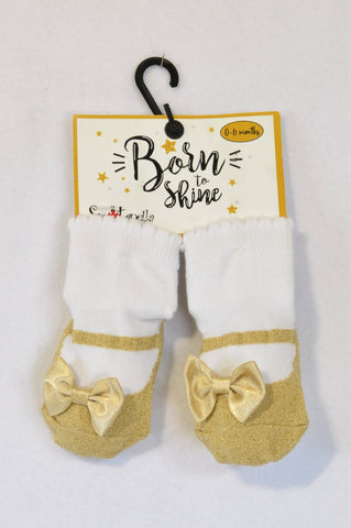 New Spotanella Designs Born to Shine Gold Bow Non-Slip Socks Girls 0-6 months