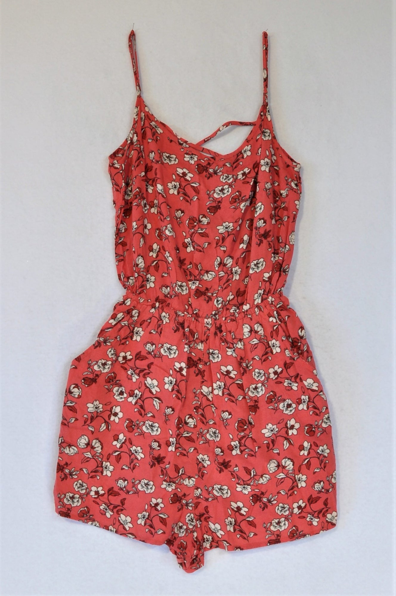 H&M Red Floral Romper Women Size 32