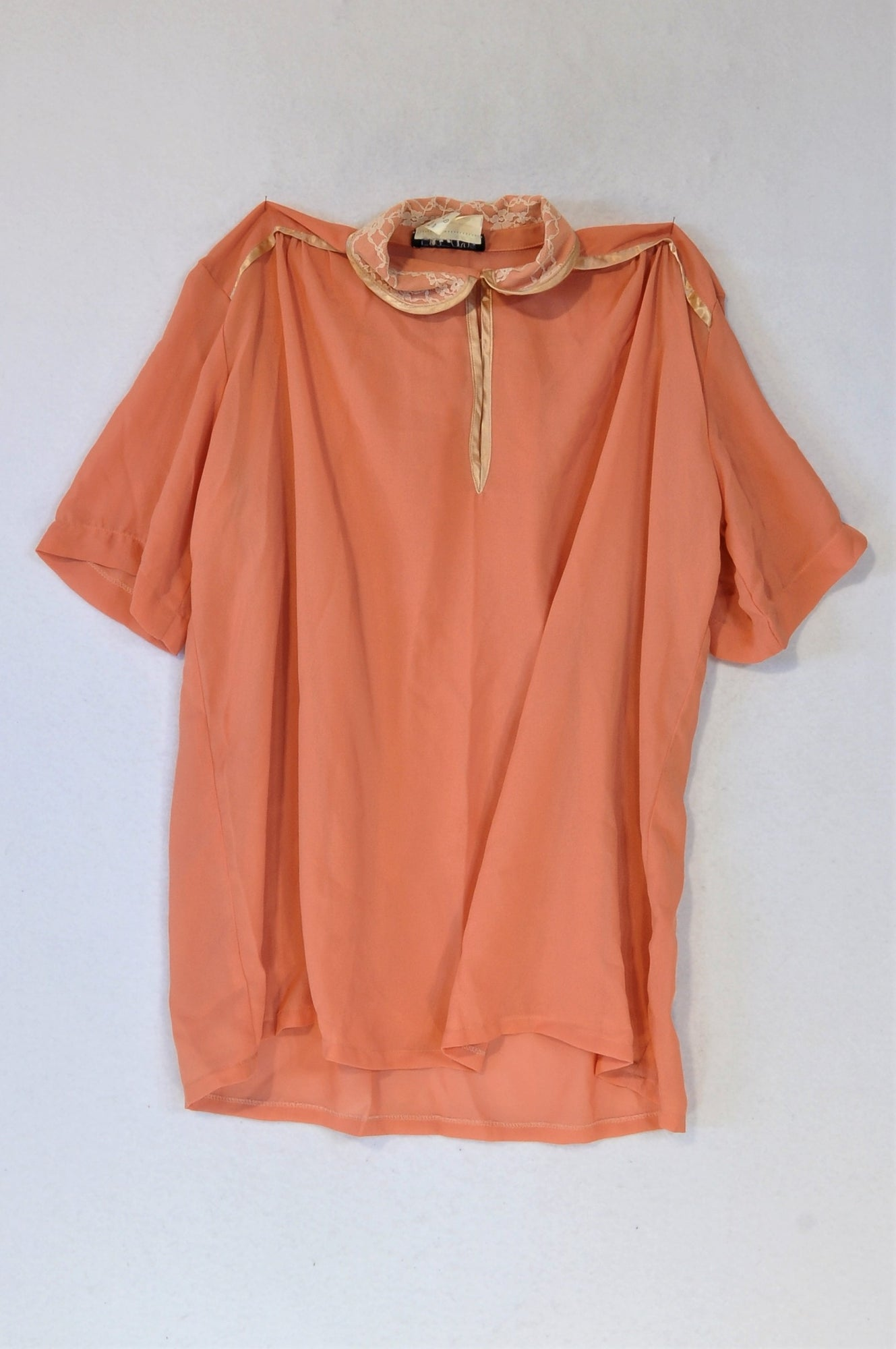 Just Lyn Peach Sheer Top Women Size 8