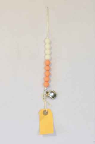 New Kinder Liefde Peach & White Silicone Beads Teether Dummy Clip Girls 6 months to 2 years