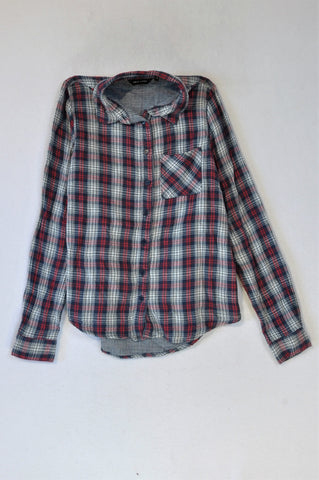 New Look Red White And Blue Plaid Soft Cotton Shirt Women Size 6