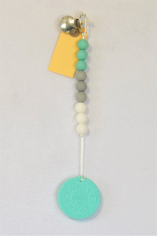 New Kinder Liefde Mint Cookie & Grey Beaded Silicone Teether Dummy Clip Unisex 6 months to 2 years