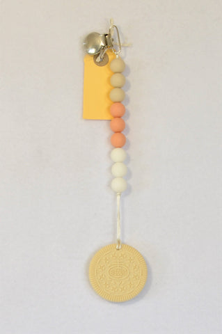 New Kinder Liefde Beige Cookie Beaded Silicone Teether Dummy Clip Unisex 6 months to 2 years