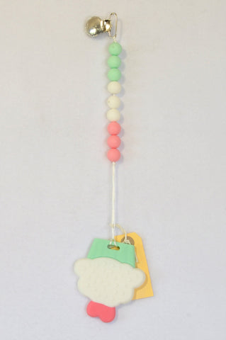 New Kinder Liefde Mint & Pink Cupcake Silicone Teether Dummy Clip Girls 6 months to 2 years