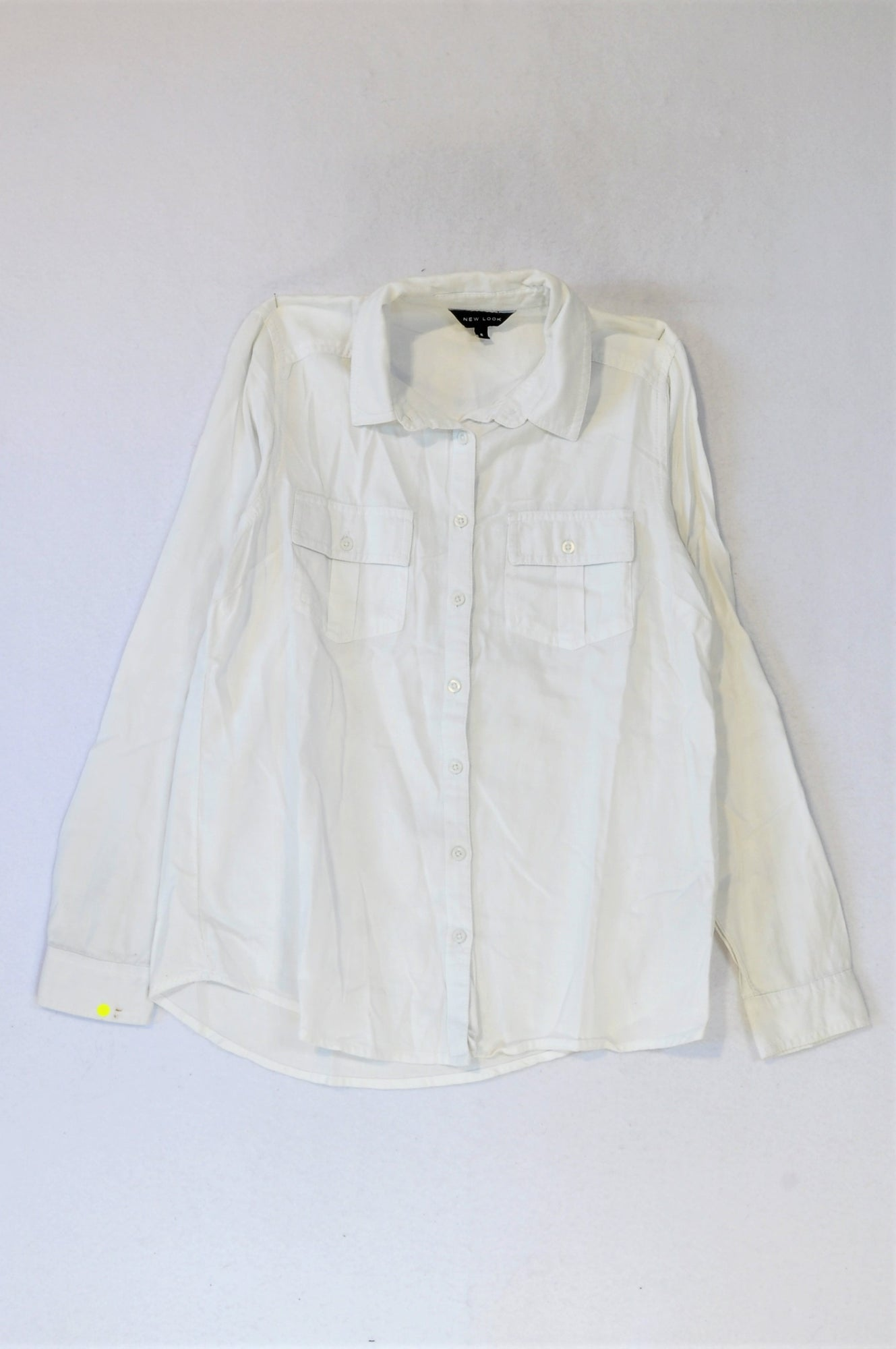 New Look White Button Up Shirt Women Size 8