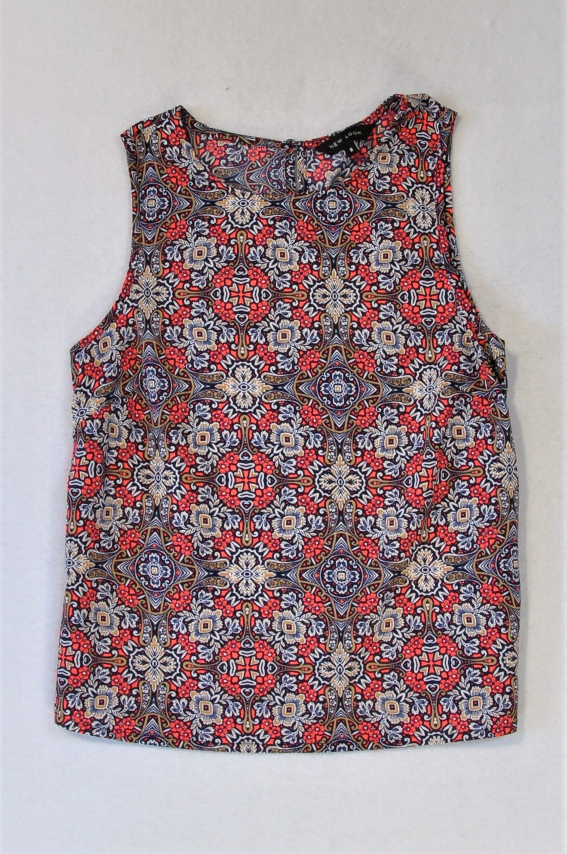 New Look Red Floral Geometric Pattern Tank Top Women Size 8