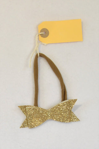 New Unbranded Metallic Gold Glitter Bow Headband Girls All Ages