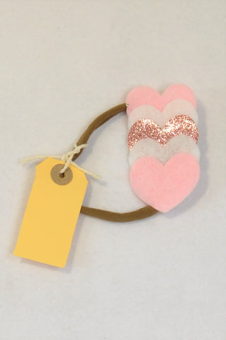 New Unbranded Pink & White Glitter Heart Headband Girls All Ages
