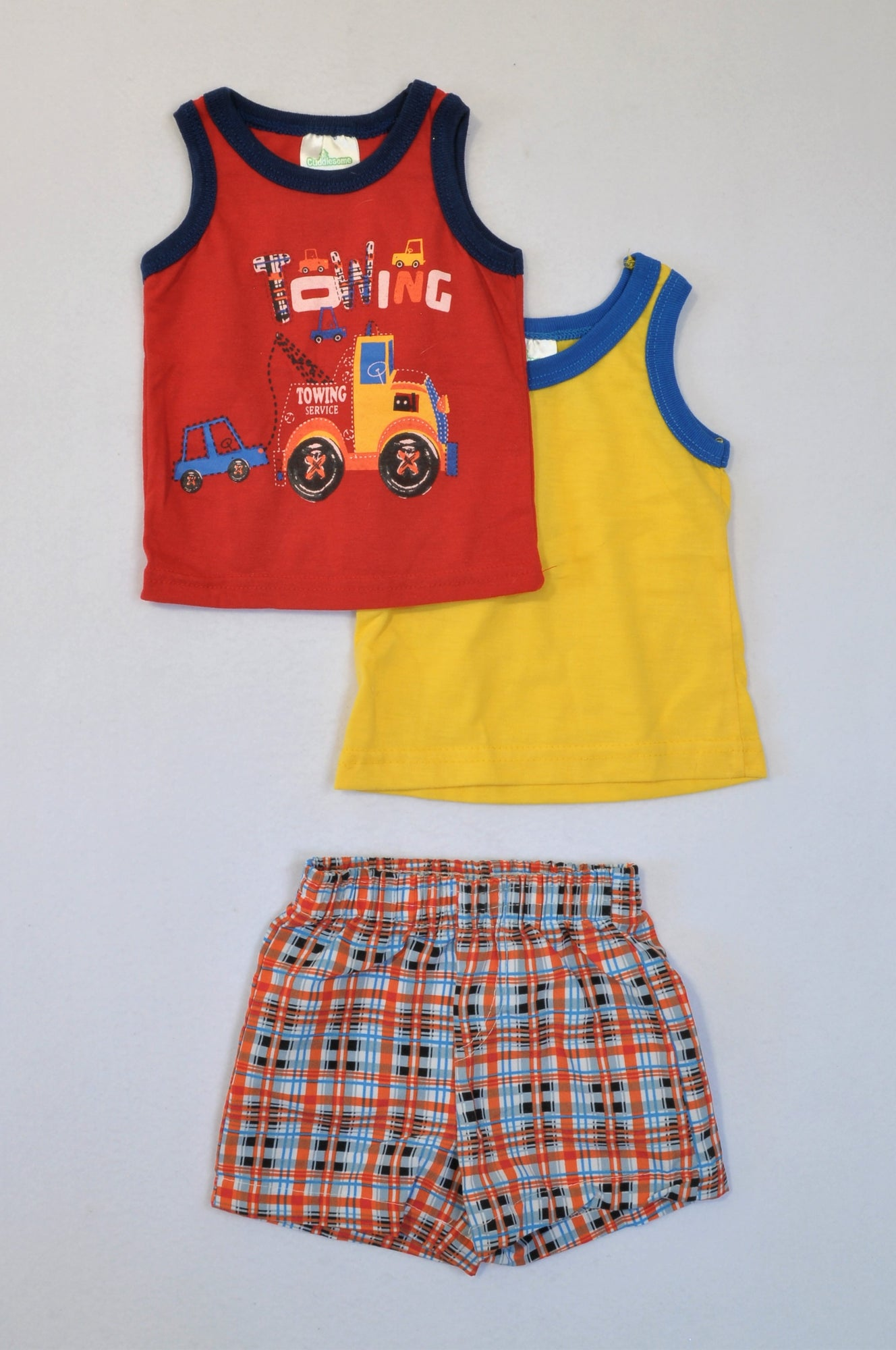 New Pep 3 Pack Towing & Yellow Tank Tops and Plaid Shorts Outfit Boys 0-3 months