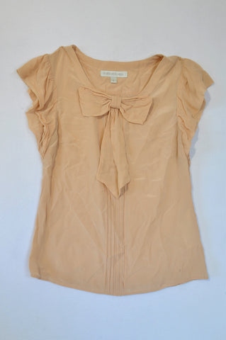 Forever New Dusty Pink Lightweight Bow Blouse Women Size 6