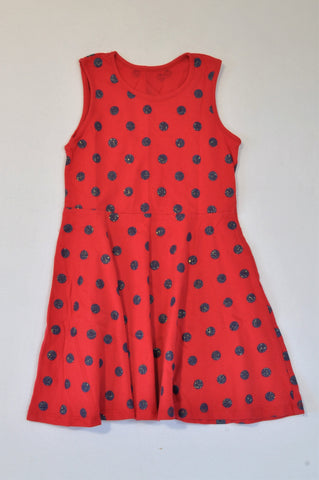 Woolworths Red & Navy Glitter Dotty Dress Girls 7-8 years