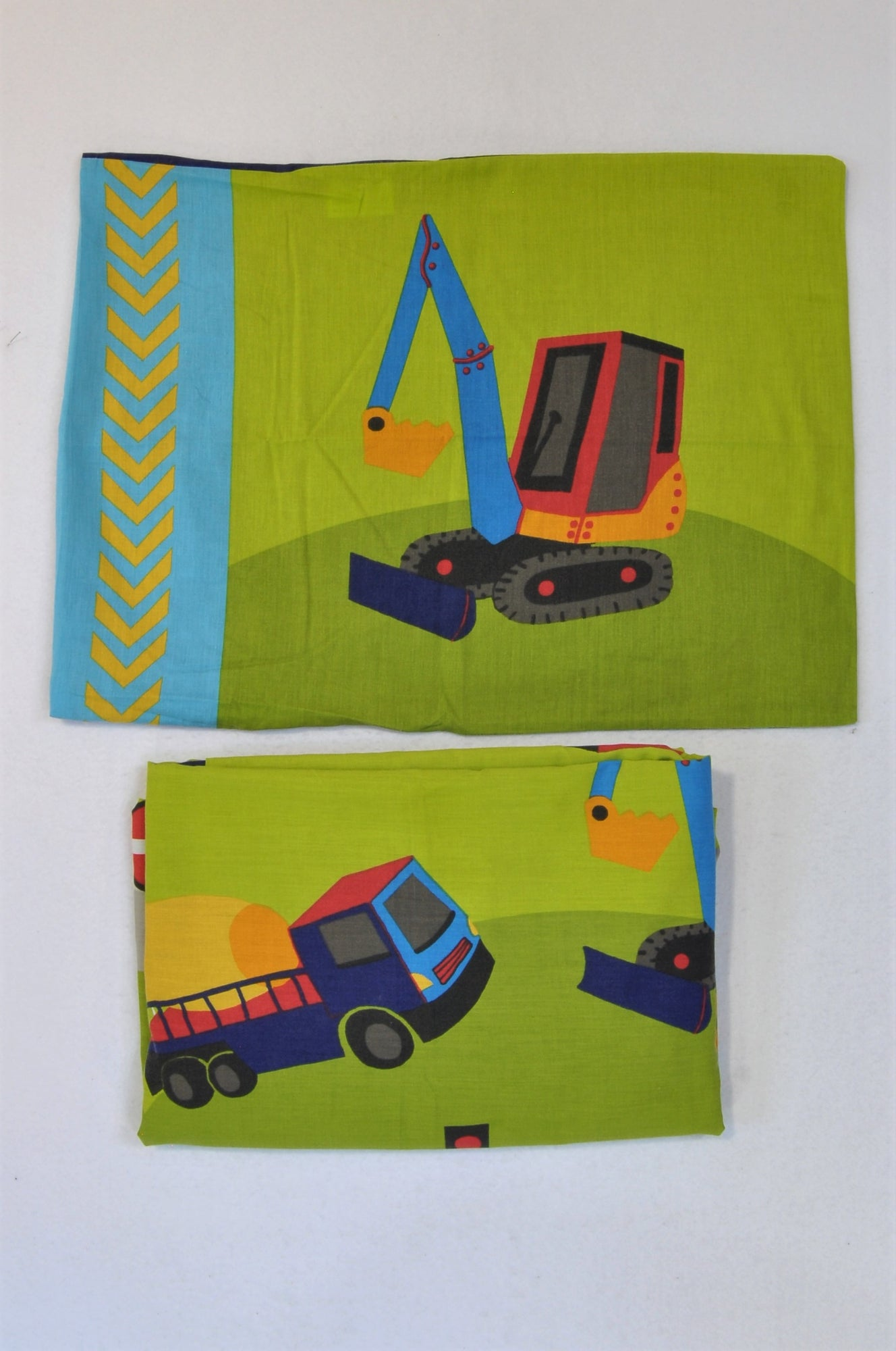 Kid's Club Construction Truck Pillow And Toddler Bed Duvet Cover Bedding Set Boys 2-6 years