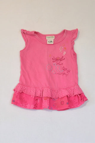 Naartjie Pink Embroidered Mermaid Frill T-shirt Girls 12-18 months