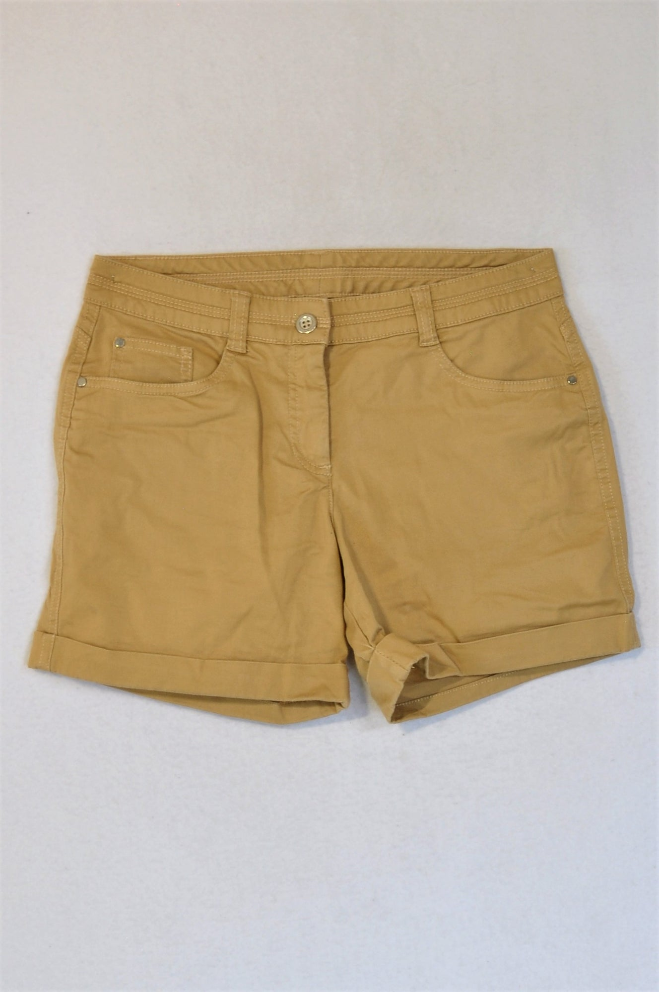 Woolworths Cream Brown Shorts Women Size 8