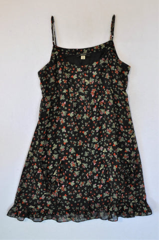 Jay Jays Black With Red Flowers Covered Buttons Strap Dress Women Size 14