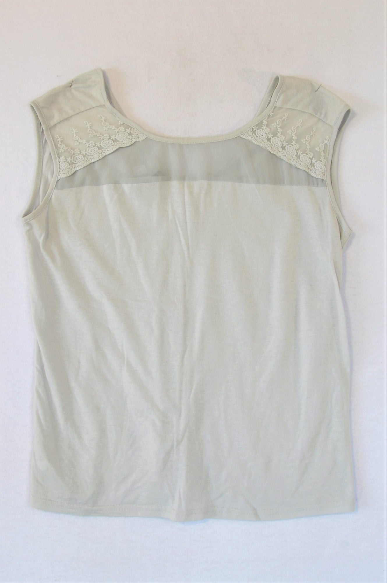 Woolworths Grey Lace Inset Tank Top Women Size M
