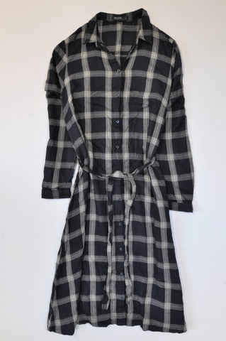 David Jones Navy & White Plaid Long Sleeve Tie Dress Women Size 14
