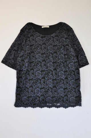 Marks & Spencers Navy & Black Lace Top Women Size 14