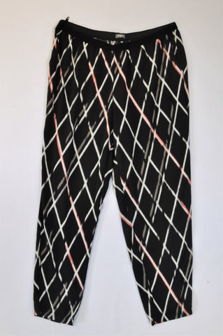 Woolworths Black Banded Lightweight White & Pink Diamond Pattern Pants Women Size 16