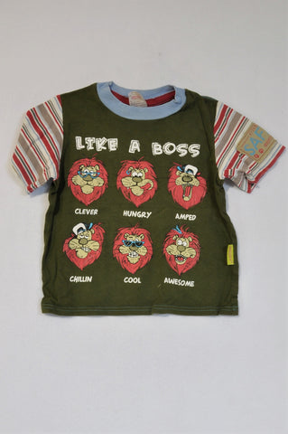 Hooligans Olive Striped Like a Boss Lion T-shirt Boys 3-4 years