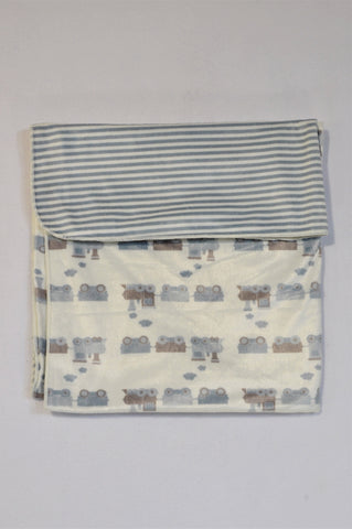 Snuggletime Double Sided Dusty Blue Train & Striped Blanket Boys N-B to 2 years