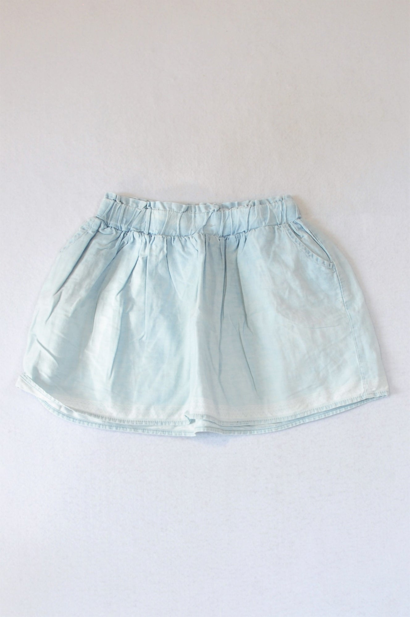 Woolworths Light Blue Chambray Skirt Girls 5-6 years